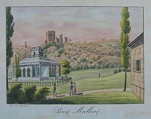 Burg Medling. Altkolorierte Lithographie n. B. de: Mödling