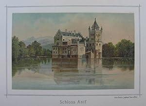 """Schloss Anif. Chromolithographie aus Gerasch """"Die österreichische: Anif - Schloß"""