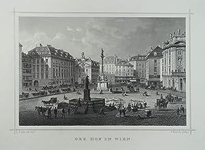 """Der Hof in Wien. Stahlstich v. C. Rorich n. L. Rohbock aus Ruthner """"Das Kaiserthum Oesterreich..."""
