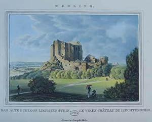 Medling. Das alte Schloss Liechtenstein. Altkolorierter Kupferstich: Mödling