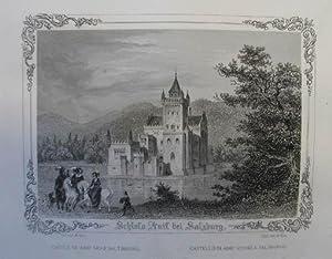 Schloss Anif bei Salzburg. Stahlstich v. Kurz: Anif - Schloß