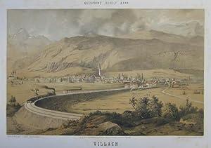 Villach. Mehrfarb. Tonlithographie v. Conrad Grefe n.: Villach