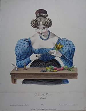 L'Aimable Fleuriste. (Paris). Altkolorierte Lithographie v. Charles Philipon (1802-1862). Paris, ...