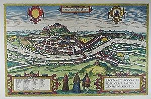 Saltzburgk. Recens et accuratissima Urbis Salisburgensis Delineatio.: Salzburg Stadt Gesamtansicht