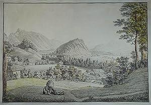 Ansicht des Kapuziner-Berges bey Salzburg genom(m)en an: Gnigl