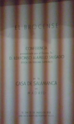 EL BROCENSE. Conferencia (Madrid, 1958): Ildefonso Alamillo Salgado