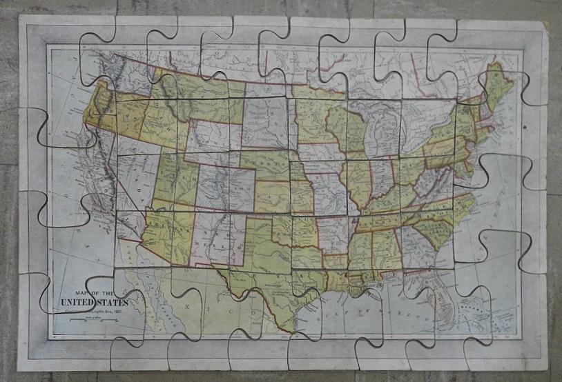 A New Dissected Map of the United States by Map Game] MCLOUGHLIN ...