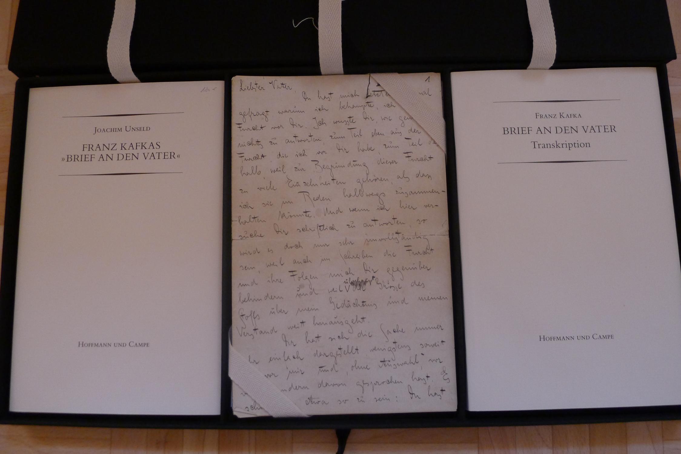 Brief an den Vater, Faksimile, Transkription, Joachim Unseld: Franz Kafkas Brief an den Vater,: ...