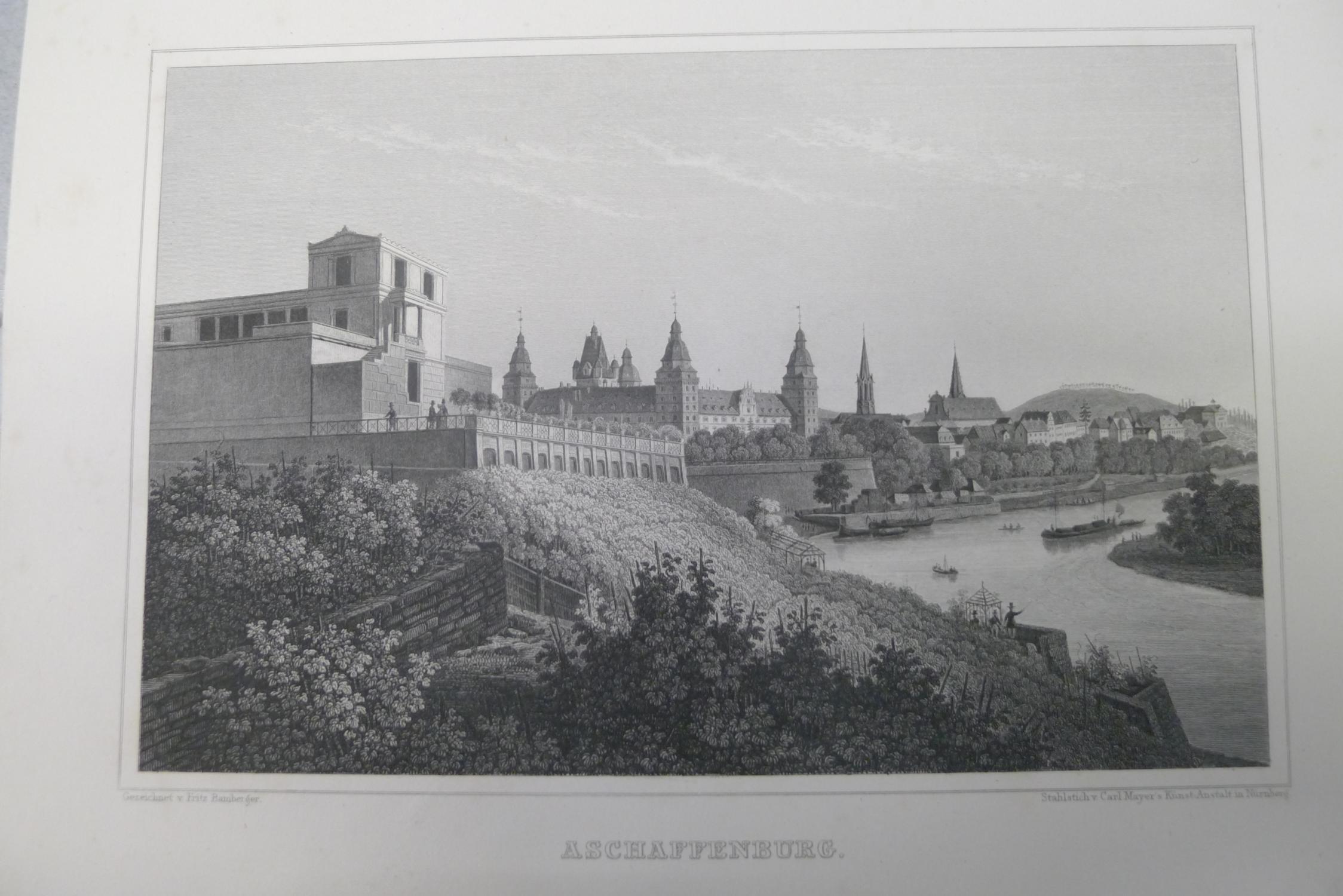 Aschaffenburg, Stahlstich, Stadtansicht mit Pompejanum im Vordergrund,: Bamberger, Fritz:
