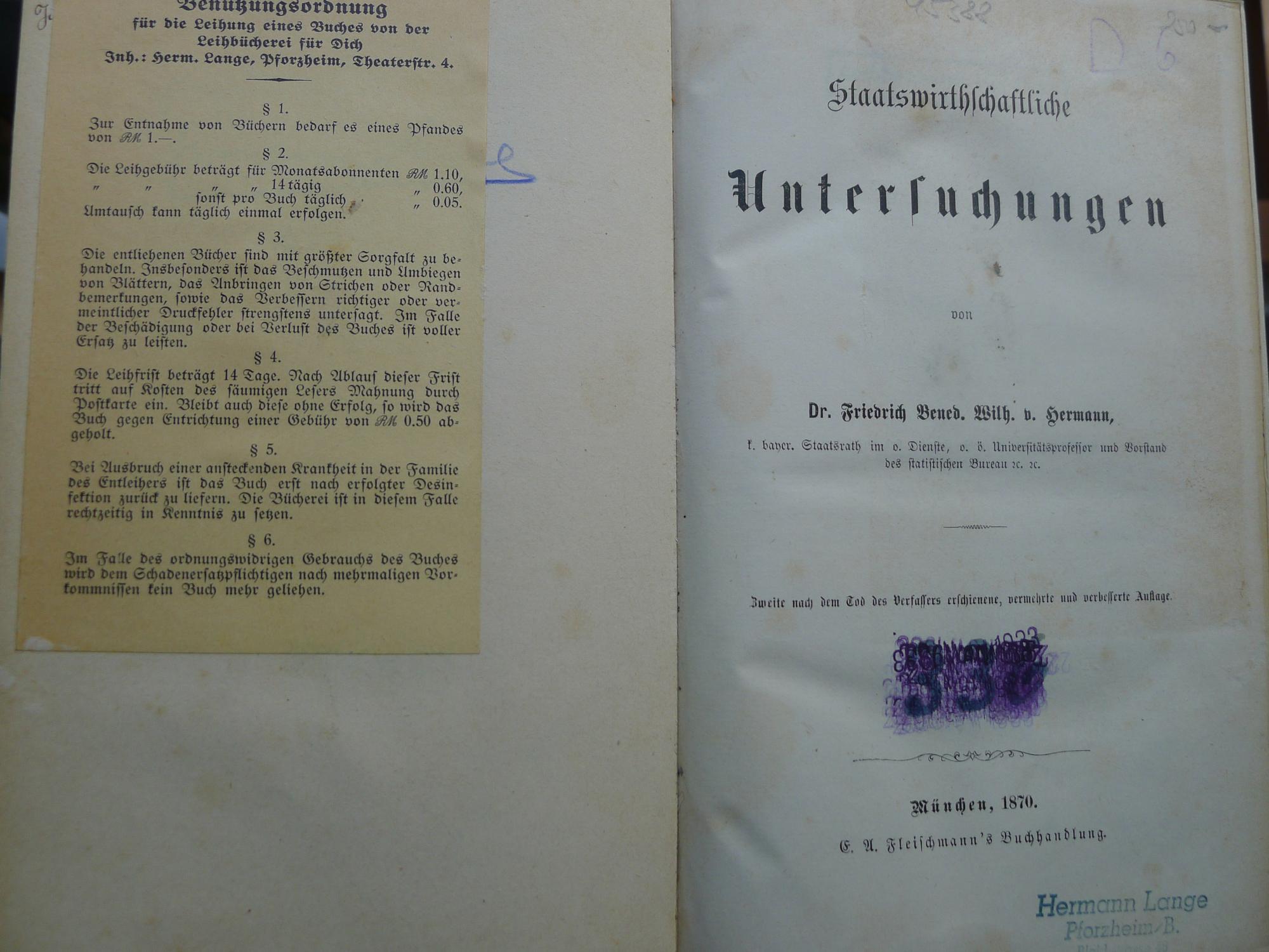 Staatswirthschaftliche Untersuchungen,: Hermann, Friedrich Bened.