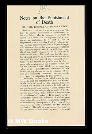 Notes on the punishment of death. [series of 10 pamphlets]: Calvert, Eric Roy (1898?-1933). ...
