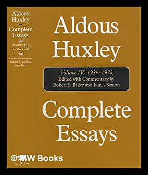 complete essays by aldous huxley first edition abebooks complete essay volume iv 1936 1938 aldous huxley aldous 1894