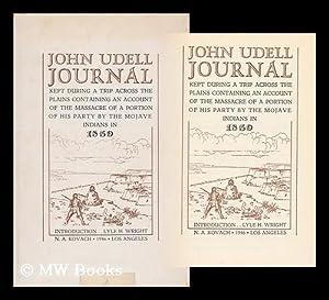 John Udell Journal, Kept During a Trip: Udell, John, (1795-1874)