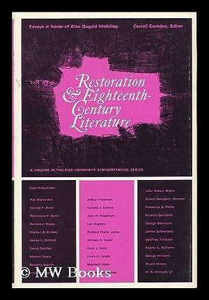 Restoration and Eighteenth-Century Literature : Essays in Honor of Alan Dugald McKillop: Camden, ...