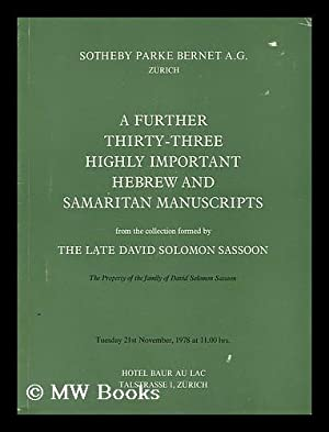 Catalogue of thirty-three highly important Hebrew and: Sotheby Parke Bernet
