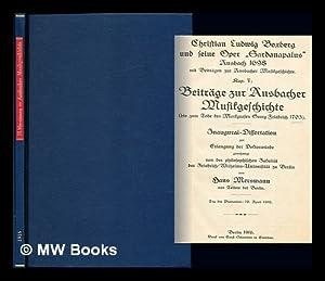 """Christian Ludwig Boxberg und seine Oper """"Sardanapalus,"""": Mersmann, Hans"""