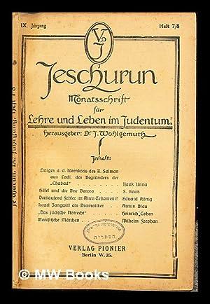Jeschurun : Monatsschrift für Lehre und Leben: Wohlgemuth, Joseph (1867-1942)