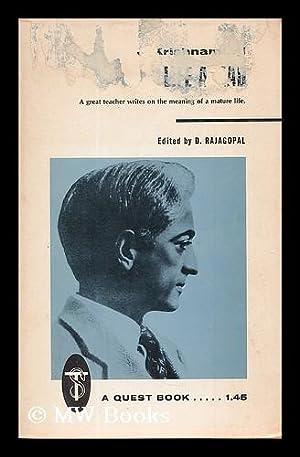 Life ahead / by J. Krishnamurti ;: Krishnamurti, Jiddu (1895-1986)