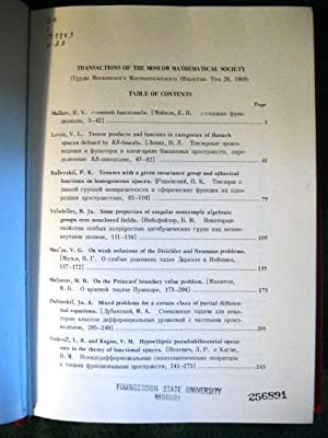 Transactions of the Moscow Mathematical Society: Five Volumes (1965; 1968, Vol 19; 1969, Vol 20; ...