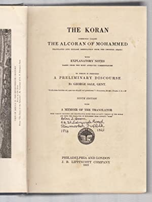 The Koran, commonly called the Alcoran of: George Sale (preface)