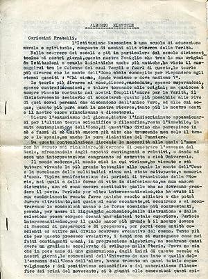"""Tre dattiloscritti. 1), Alberto Einstein, incipit: """"Carissimi: Francesco Siniscalchi"""