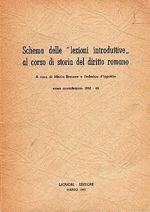 """Schema delle """"lezioni introduttive"""" al corso di: Bretone M.-d'Ippolito F."""