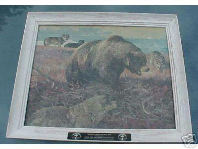 Alaskan Brown Bear and Wolves ; By Bob Kuhn, From the Seagram ...