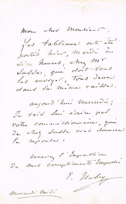 Eigenhänd Brief Mit Unterschrift 1 Seite In 8 Ohne Ort Und Datum