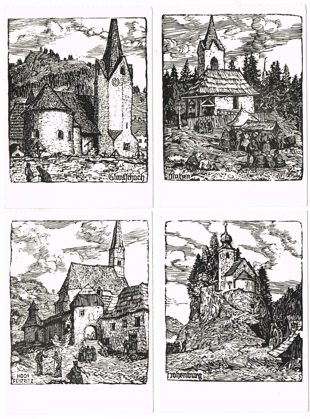 Konvolut von 14 ungelaufenen Holzschnitt-Kunstkarten, unsigniert, um: LOBISSER, Switbert (Tiffen