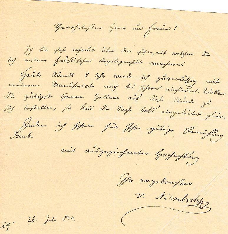 Eigh Brief Unterschrift Seite Kl 8 Von Lenau Nikolaus Zvab