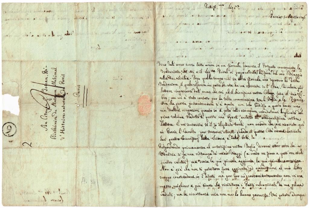 eigh brief in italienischer sprache mit empfehlungsformel und unterschrift by spallanzani