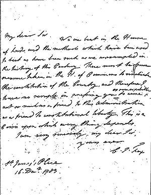 Eigenhänd. Brief mit Unterschrift, 1 Seite, gr-8,: FOX, Charles James,