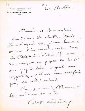 Eigh. Brief m. U., 1 Seite, in-4,: COLETTE, Sidonie Gabrielle,