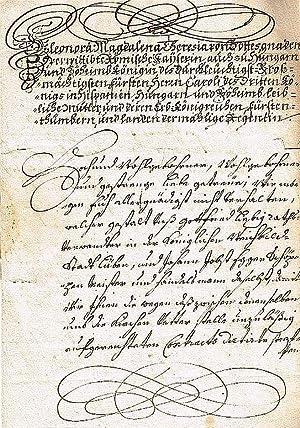 """Dekret mit Unterschrift (""""Eleonora Magdalena Thereßia""""), 2: ELEONORA MAGDALENA von"""