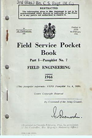 Field Service Pocket Book : Pamphlet No: War Office