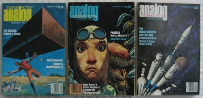"Analog Science Fact Science Fiction October November & December 1979, 3 issues featuring the first published appearance of""The Visitors"" by Clifford D. Simak (in 3 parts) + The Moon Goddess & the Son, Life Among the Brain Stealers,The Spaceport, +++"
