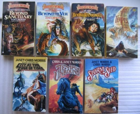 """Thieves' World novels by Janet Morris: """"""""Beyond Sanctuary"""""""", """"""""Beyond the Veil"""""""", """"""""Beyond Wizardwall"""""""", """"""""Tempus"""""""", """"""""City at the Edge of Time"""""""", """"""""Tempus Unbo"""