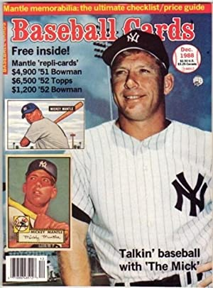 "Baseball Cards - December 1988, Issue # 40, Vol. 8 No. 12. -""Mickey Mantle"" Issue -with ..."