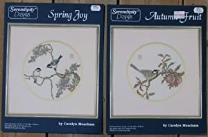 Serendipity Designs: Spring Joy; (with) Autumn Fruit; -(2 illustrated cross stitch guides)