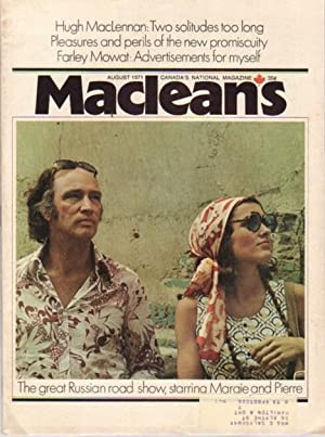 MacLean's Canada's National Magazine, August 1971, .Margaret: Newman, Peter C.