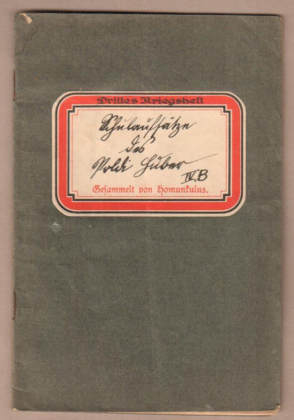 Schulaufsätze des Poldi Huber, Schüler der IV.b: Humunkulus (d. i.