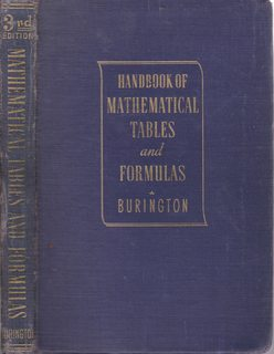 Handbook of Mathematical Tables and Formulas 3rd: Burlington, Richard Stevens