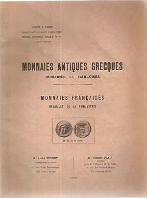 Monnaies antiques Grecques romaines et gauloises.Monnaies françaises: Collectif