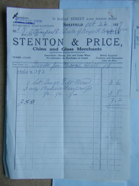 a1c5db36a01 Duke of Norfolk Estates, Sheffield. Invoice from Stenton   Price, China  Merchant. 1927.