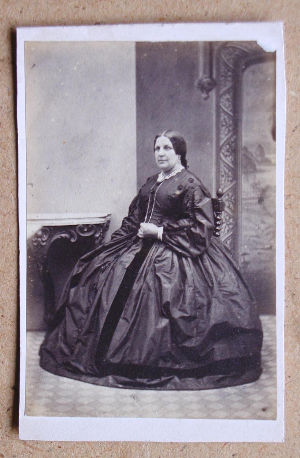 Carte De Visite Photograph A Studio Portrait Of Seated Woman In Fine Dress