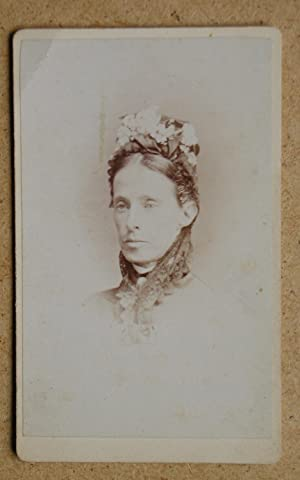 Carte De Visite Photograph. Portrait of a Woman Wearing a Bonnet.