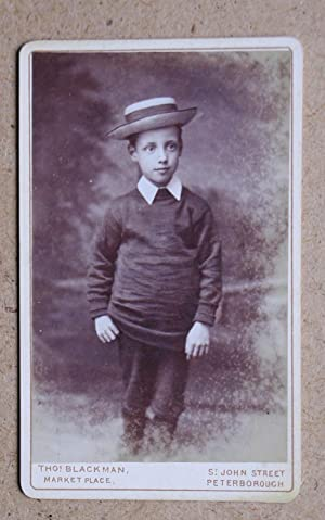 Carte De Visite Photograph. Studio Portrait of a Young Boy Wearing a Straw Boater Hat.