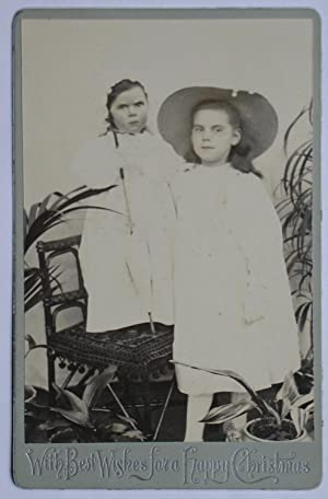 Cabinet Photograph: Two Young Sisters, the Younger Standing on a Chair.