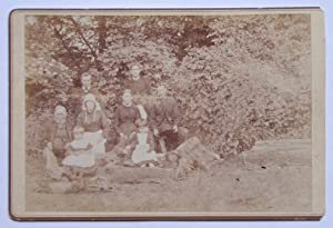Cabinet Photograph: A Group Portrait of Family, Young & Old, in a Woodland Setting.
