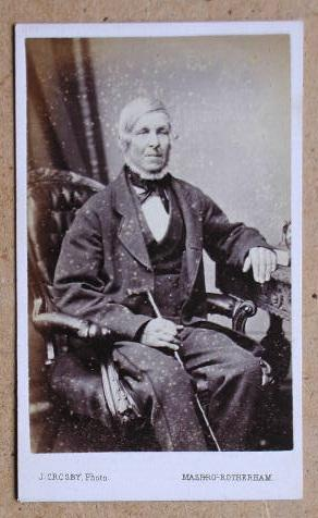 Carte De Visite Photograph. Portrait of an Elderly Gentleman Holding a Walking Stick.